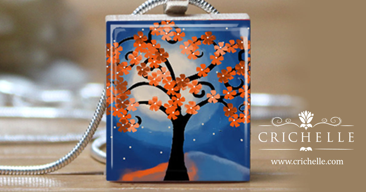 Whimsical tree 3 scrabble tile pendant necklace crichelle whimsical tree 3 scrabble tile pendant necklace mozeypictures Gallery