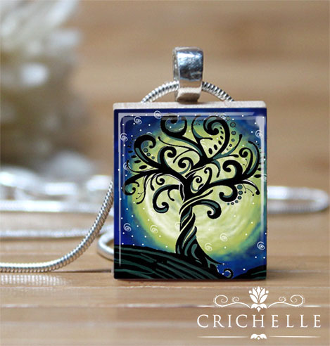 Whimsical tree 5 scrabble tile pendant necklace crichelle whimsical tree scrabble tile pendante 5 mozeypictures Gallery