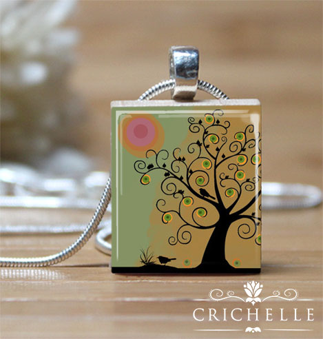 Whimsical Tree 6 Scrabble Tile Pendant Necklace
